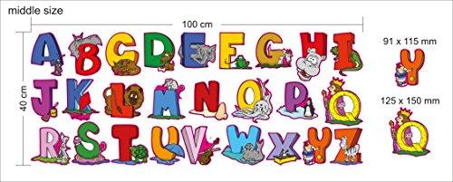 Mittel Englisch Alphabet Vinyl Buchstaben - Pädagogische Wandaufkleber für Schule oder Kindergarten Zimmer - Set von 26 Cartoon Wallpaper Decals für Smart Kids und gute Eltern -