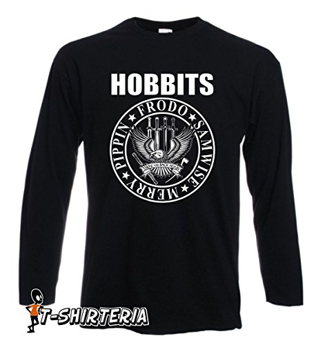 t-shirt manica lunga nera - Hobbit Ramones - Frodo samwise - S M L XL XXL uomo donna bambino maglietta by tshirteria