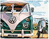 GVNEO Malen Nach Zahlen Seaside Oldtimer DIY Malen Nach Zahlen Kits Färben Malen Nach Zahlen Moderne Wandkunst Bild Geschenk(40X50Cm Rahmenlos)
