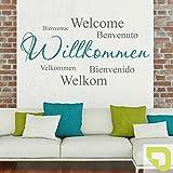 DESIGNSCAPE® Wandtattoo Willkommen in verschiedenen Sprachen - Zweifarbiges Willkommen Wandtattoo 140 x 74 cm (B x H) Farbe 1: hellgrün DW803074-L-F87
