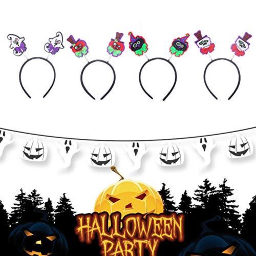 Liuxia Haarreif für Erwachsene, Kinder, Halloween, Kürbis-Geister-Motiv, Totenkopf-Deko, Frühlings-Haarreifen, Nachtclub-Maskerade, Partyzubehör, - Katze Im Hut Kostüm Halloween Geist