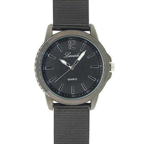 Metallband Armbanduhr für Herren und Damen grau schwarz Mesh Milanaise Band Quarz Uhrwerk Herrenuhr Damenuhr