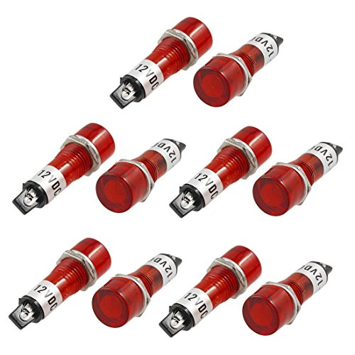 Einbau Anzeige Leuchte - TOOGOO(R) 10 Stueck DC 12V Einbau Rote Kontrolllampe Signalanzeigelampe