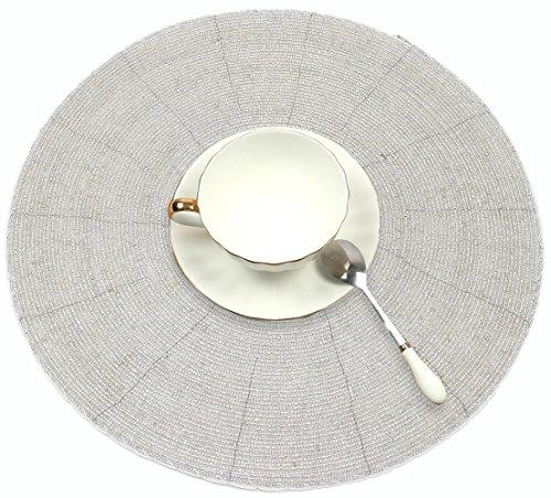 s (4 Pack) – breit 30,48 cm Woven Glas Perlen und moderne Silber Esstisch Matte Innen oder Außenbereich, schützt Ihren Tisch (Hochzeit Tablescapes)