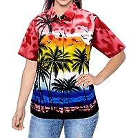 Pulsante usura hawaiano camicia gi� beachwear collare fresco maniche corte delle donne superiori signore