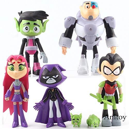 Cartoon Teen Titans Gehen Action-Figuren Robin Cyborg Beast Boy Sternenfeuer Rabe Silkie PVC Sammeln Kinder Spielzeug Geschenke 7 Teile/Satz
