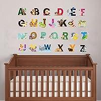 cute animal alphabet wall art sticker for baby bedroom nursery wall alphabet letters decor A-Z removable peel & stick
