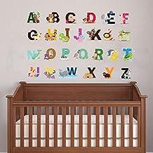 Cute Animal alfabeto adhesivo decorativo para pared para dormitorio bebé decoración de la pared letras del alfabeto A-Z extraíble Peel & stick