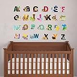 Cute Animal Alphabet Wand Kunst Aufkleber für Baby-Schlafzimmer Kinderzimmer Wandtattoo Alphabet Buchstaben Decor A-Z entfernbare Abziehen & Aufkleben