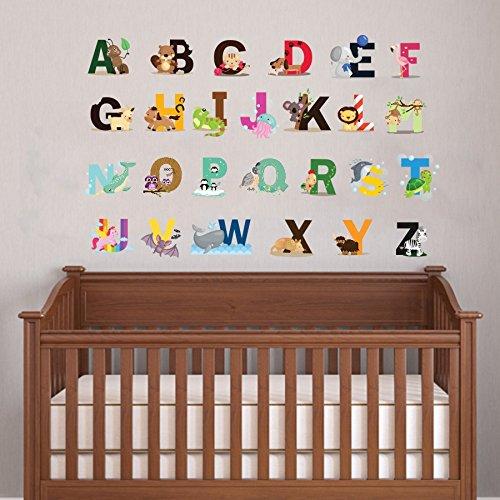 Cute Animal Alphabet Art mural autocollant pour chambre bébé Chambre d'enfant murale Décor lettres de l'alphabet A-Z amovible Peel et bâton