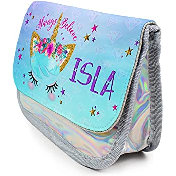 Personalised unicorn butterfly Pencil Case make up bag school Birthday name girl