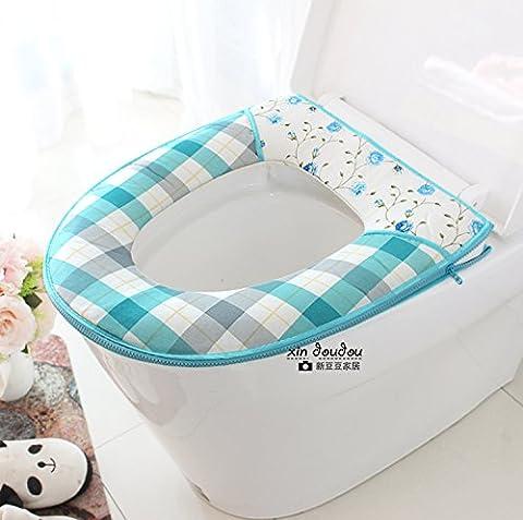 Im Frühjahr und Sommer Baumwolle reißverschluss Matte Kit wc wc Hocker Hocker ferrule Pad wasserdicht Sitzkissen Sitz wird die Matratze, er Blau