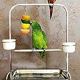 Mieoson Pappagallo Mangiatoia per Uccelli Verdura Frutta Spiedino di Carne Gabbia per Uccelli Appeso Stand Budgies Macaw Conure Titolare del Trattamento (S) by