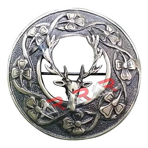 """Keltisch Kilt Plaid Brosche Antik Oberfläche 3\"""" (7.62cm)/ Schottische & Broschen Irisch Shamrock.masonic, Harfe, Distel, Hirschkopf, st Andrew - Kilt Plaid Brosche Hirschkopf, 3\"""" (7.62cm)"""