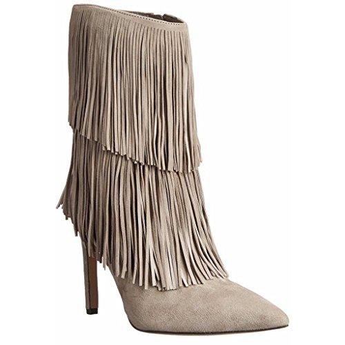 0702FD fatti Inverno scarpe artificiale 43 impermeabili GRAY della PU banchetto Scarpe brown tallone Stivali Signora Autunno Lady da Booties mano a caviglia 36 UqT0WWO4
