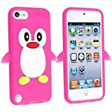 iPod Touch 5th 6th Generation Case, iPod Touch 5/6 Case Genuine ZAFOORAH Shockproof Impact Defender Cartoon with 3 Bonus items Stylus, Screen Protector, Microfiber Cloth (Penguin - Dark Pink)