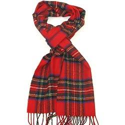 Lovarzi - Lana tartán bufanda royal stewart - bufandas para hombres y mujeres - hombre y mujer pura lana tartán escocés pañuelos - rojo