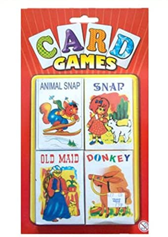 KIDS CHILDRENS CLASSIC CARD GAMES SET OF 4 ANIMAL SNAP OLD MAID DONKEY PARTY