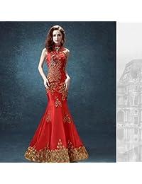 GUYIVVU Vestido De Cheongsam Sirena Vestido Chino Tradicional Diseños Vestido De Novia Chino Qipao Vestido De Novia Qipao Vestido Largo Rojo, Rojo, M