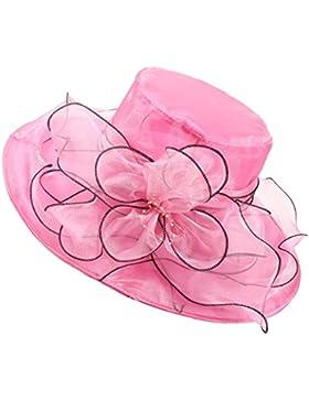SiDiOU Group Mujer Playa Sombrero Brim Vestido De Novia Iglesia Sombreros Organza Gorras Fedora Gorro de Trilby...
