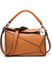 14b11c8d8387 Yoome Women s Faux Leather Casual Tote Bag Boston Shoulder Bag Contrast  Color Ipad Purses and Handbags