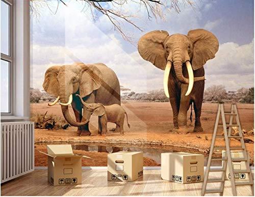 Yirenfeng Tamaño Personalizado Foto 3D Mural Elefantes Vistas Niño Extraíble Papeles De...