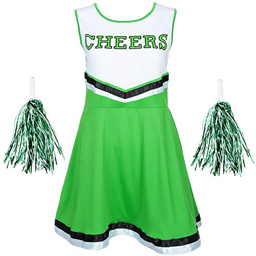 REDSTAR FANCY DRESS Damen Cheerleader Kostüm Outfit mit Pom Poms Halloween Kostüm American High School Musical Sport Verfügbar in den Größen 6-16 and 6 Farben - Grün, L