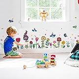 WandSticker4U- XL Wandsticker Kinderzimmer bunte BLÜMCHEN | Wandbild: 193x95 cm | Wandtattoo Fensterbilder Fenstersticker Vögel Blumen Aufkleber Pflanzen | Deko für Fenster, Küche, Flur, Möbel
