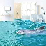 HD-Tour Oberfläche Delphin 3d Bodenbelag Tapete verdickt rutschfeste Schlafzimmer Badezimmer Lobby Quadrat Bodenbelag Wandbild, 200 * 140cm