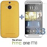 OnlineBestDigital - Colorful Hard Back Case for HTC One M8 - Gold avec 3 Film de Protection