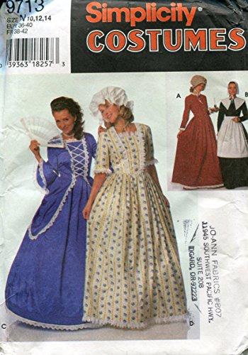Simplicity Costumes Muster 9713~ Misses '/Miss Petite Puritan, Centennial und 18.-19. Jahrhundert Kostüme ~ Größen 10-12-14