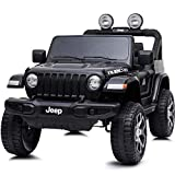 BAKAJI Auto Elettrica Bambini Jeep Wrangler Rubicon 12V Fuoristrada con Sedile in Pelle Fari a LED Lettore MP3 USB SD Bluetooth Luci Suoni Realistici e Telecomando Full Optional (Nero)