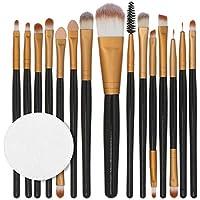 BaZhaHei 15 unids/set maquillaje kit de cepillo herramientas de maquillaje kit de artículos de tocador de lana maquillaje conjunto de cepillo 15 juegos de almohadillas de algodón con mango de madera