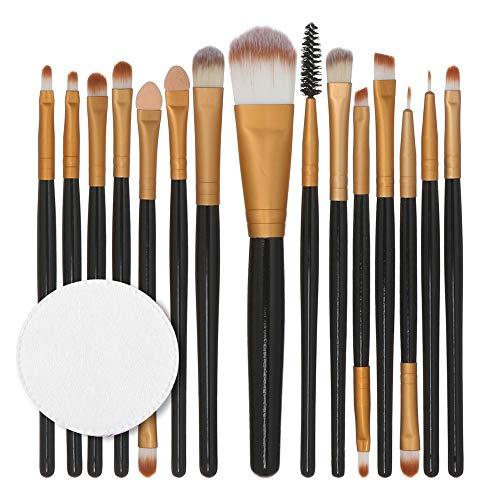 Pinceaux Maquillage,15Pcs / Set Ensemble De Pinceaux De Maquillage Outils De Maquillage Trousse De Toilette en Laine Poils Synthetiques Doux Et sans Cruauté