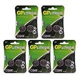 GP Batterien CR2430 3V Lithium Knopfzellen CR 2430 (3 Volt) (10 Stück Knopfbatterien) einzeln entnehmbar