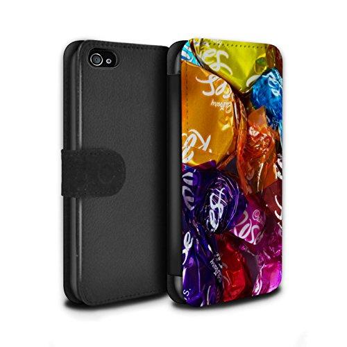 Stuff4 Coque/Etui/Housse Cuir PU Case/Cover pour Apple iPhone 4/4S / Smarties Design / Bonbons Collection Roses