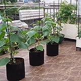3 gallons Plant Growing Bag Sacs de jardinière avec sangles de poignée Aération Tasse de tissu Non tissé Respirant Perméable Dégradable Noir 5PCS
