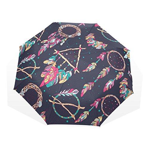 GUKENQ - Paraguas de Viaje con diseño de Amuleto y atrapasueños, Ligero y antirayos UV, para Hombres, Mujeres y niños, Paraguas Plegable y Resistente al Viento