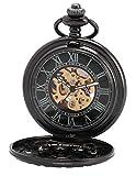 EASTPOLE Unisex Retro Automatik Mechanische Taschenuhr R?mische Ziffern Skelett Uhr mit Kette und Geschenkbox WPK201