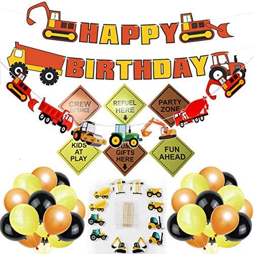 Bau Geburtstagsparty Dekorationen Set, Boys Geburtstag Bau Thema Party Favors Supplies Traktor Banner Bagger Bulldozer Muldenkipper Zement Trucks Dekor