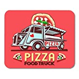 Deglogse Tappetino per mouse da gioco, Badge Food Truck Logotype for Pizza Fast Delivery Service Street Festival Van with Advertise Ads Car Mouse Pad