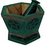 Mörser und Stößel Pentagramm Grün aus Holz z.B. für Rituelle Kräuter Größe 11x11x10cm