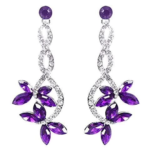 EVER FAITH® Silver-tone Butterfly Dangle Earrings Austrian Crystal-Purple N01084-4