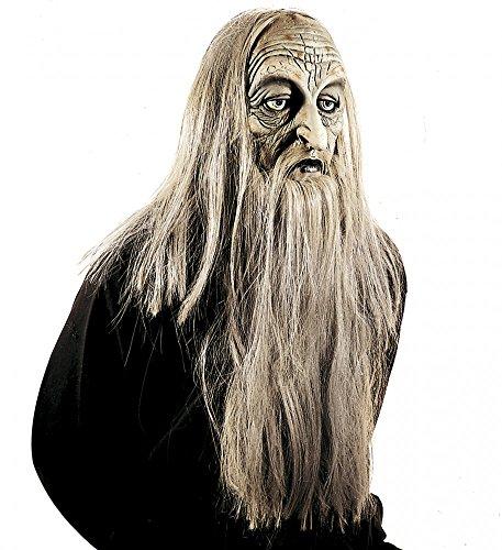 Methusalem Maske mit grauen Haaren und Bart Zauberer Gandalf Alter Mann Greis (Alter Mann Perücke Und Bart)