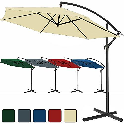 Deuba Alu Ampelschirm Ø 300 cm, höhenverstellbar mit Kurbelvorrichtung – Sonnenschirm Schirm Gartenschirm Marktschirm