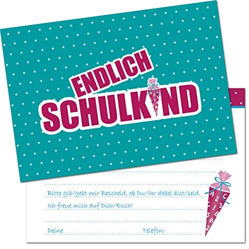 Kreatives Herz - ENDLICH Schulkind Einladungskarten zur Einschulung (10er Set - A6) für Mädchen Einladungen Schulanfang Kinder Party 1. Schultag Schultüte Zuckertüte Türkis Pink (10 Karten)