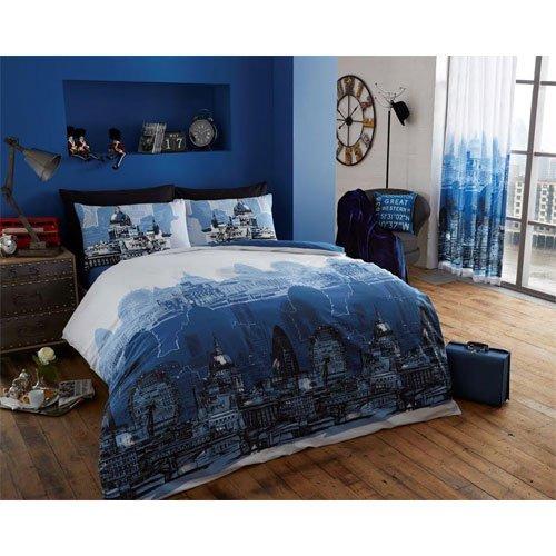 Londres Zoom azul rey edredón + almohada cama dormitorio