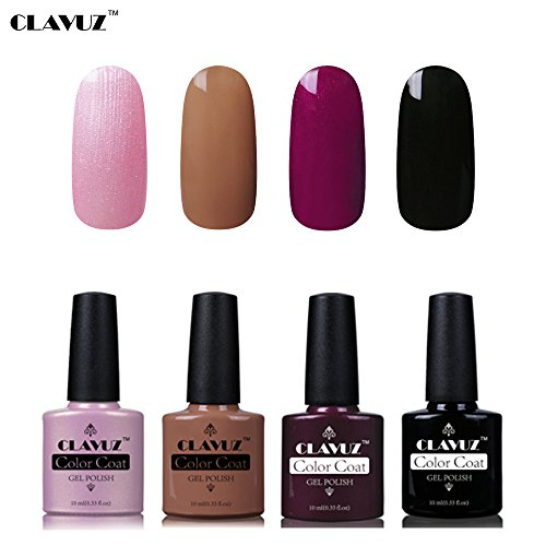 Set de Vernis à Ongles Semi-Permanent UV LED Soakoff 4pcs Kit Manucure 10ml de Clavuz-KIT 007