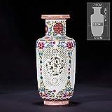 DIAOSUJIA Scultura Moderna,Artigianato Antico Vaso di Ceramica Cinese Vaso Trafitto con Base Rotante, Regali di Nozze Home Articoli di Arredamento