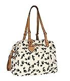 SIX 'Frühling' große Damen Handtasche Weekender Shopper aus Canvas Stoff in Beige mit schwarzen Vögeln, Schwalben maritim, verstellbar, Herz (463-733)
